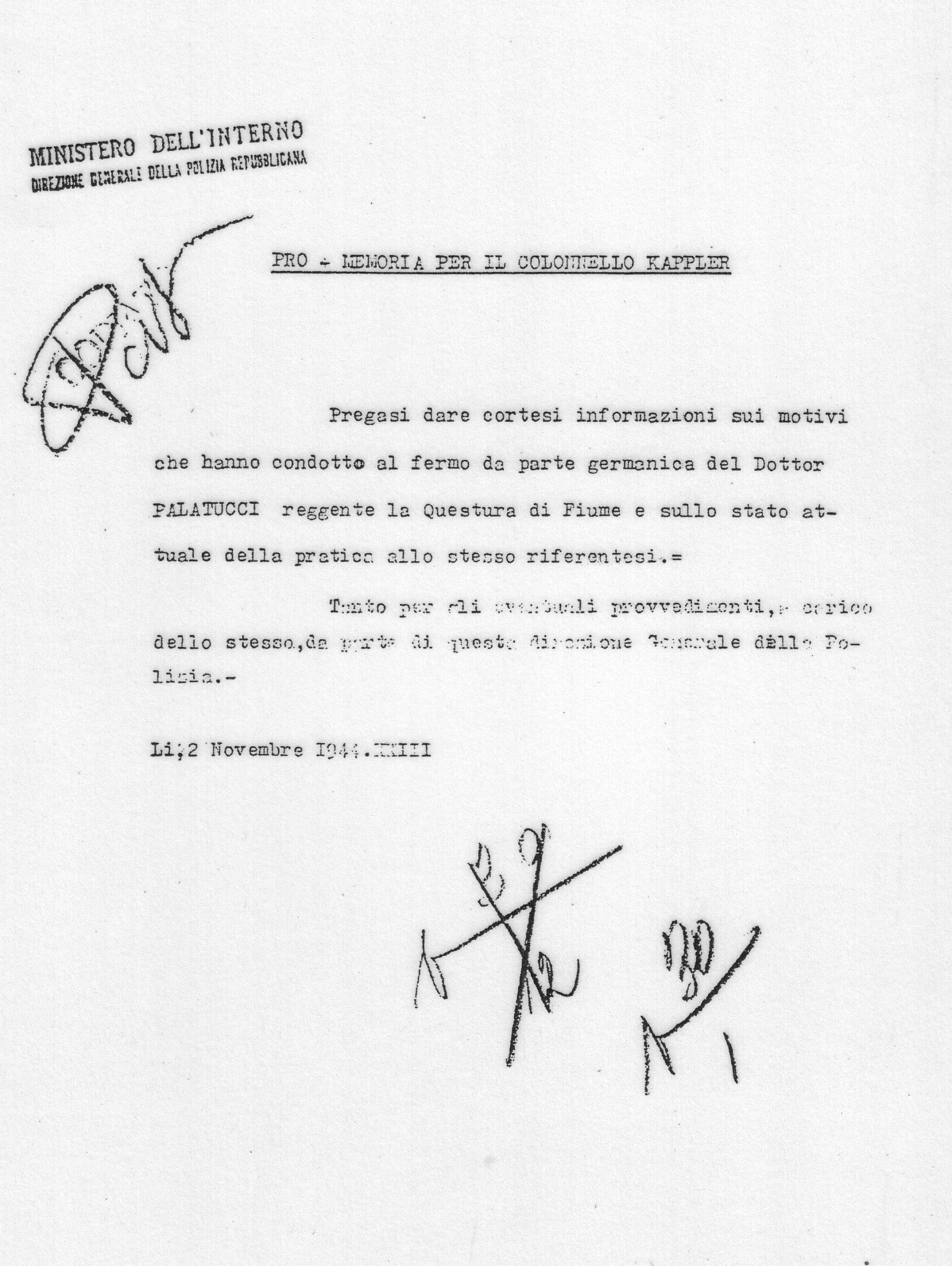 Richiesta spiegazioni sull'arresto di Giovanni Palatucci