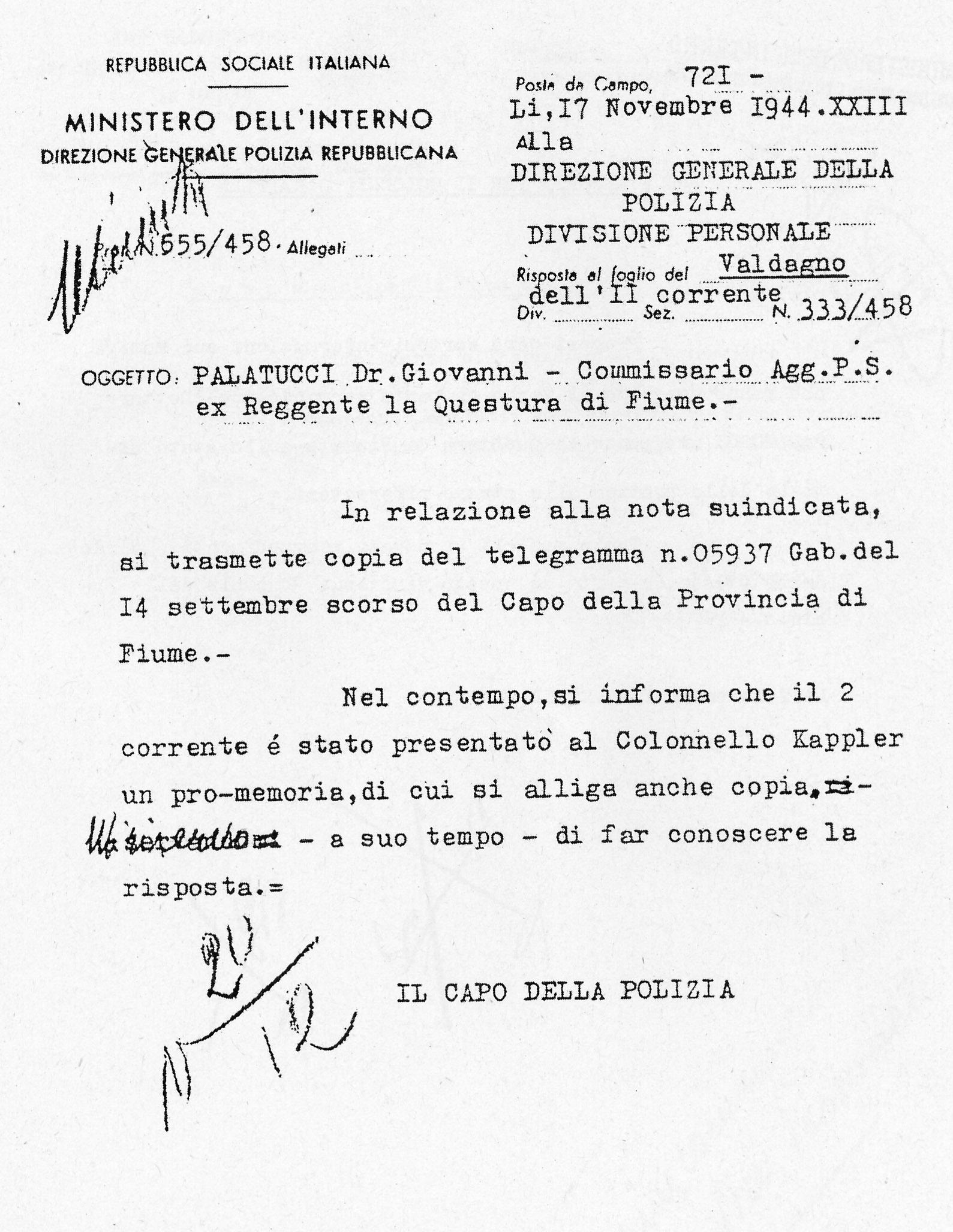 Telegramma sull'arresto di Giovanni Palatucci