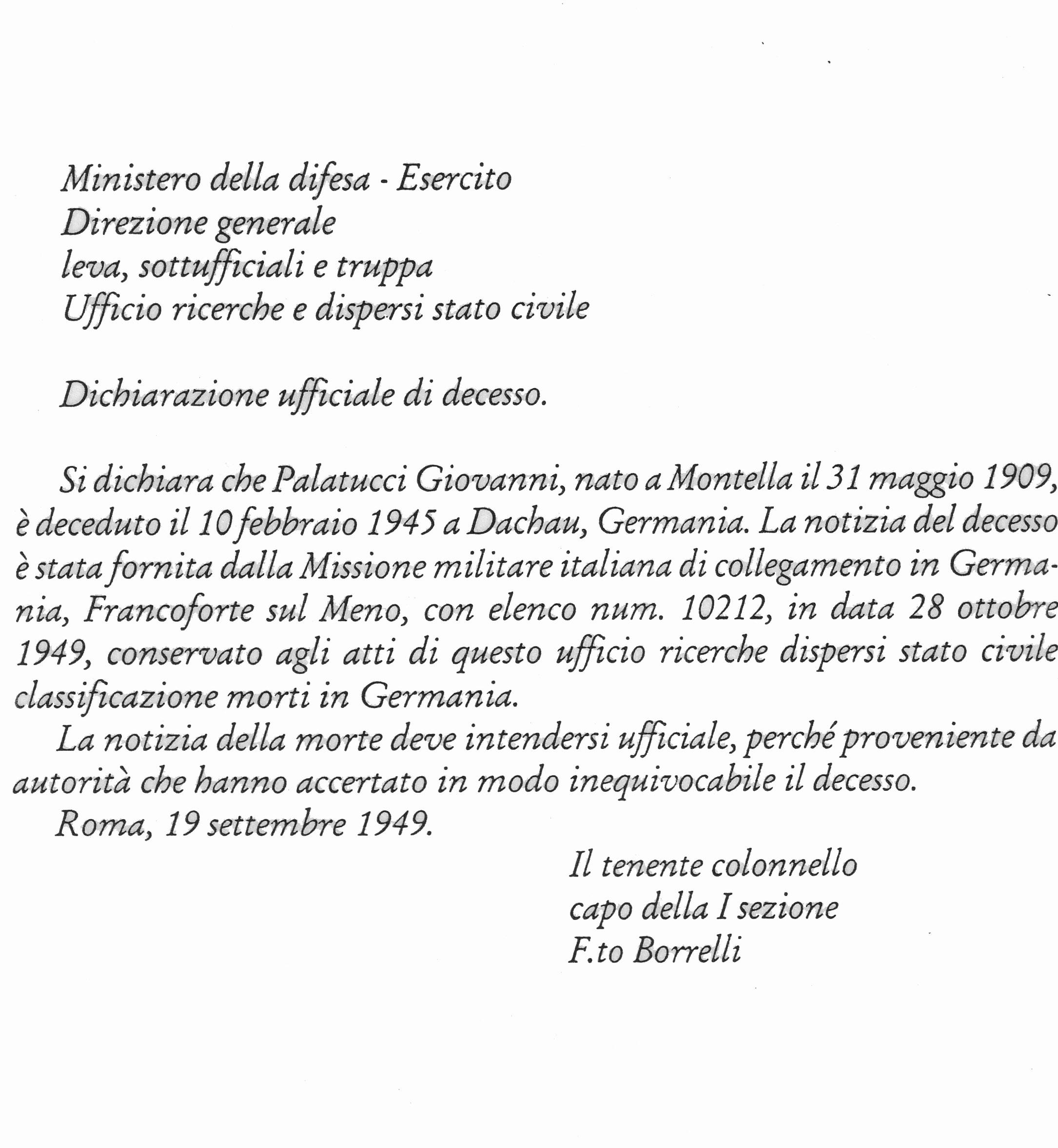 Dichiarazione di morte di Giovanni Palatucci