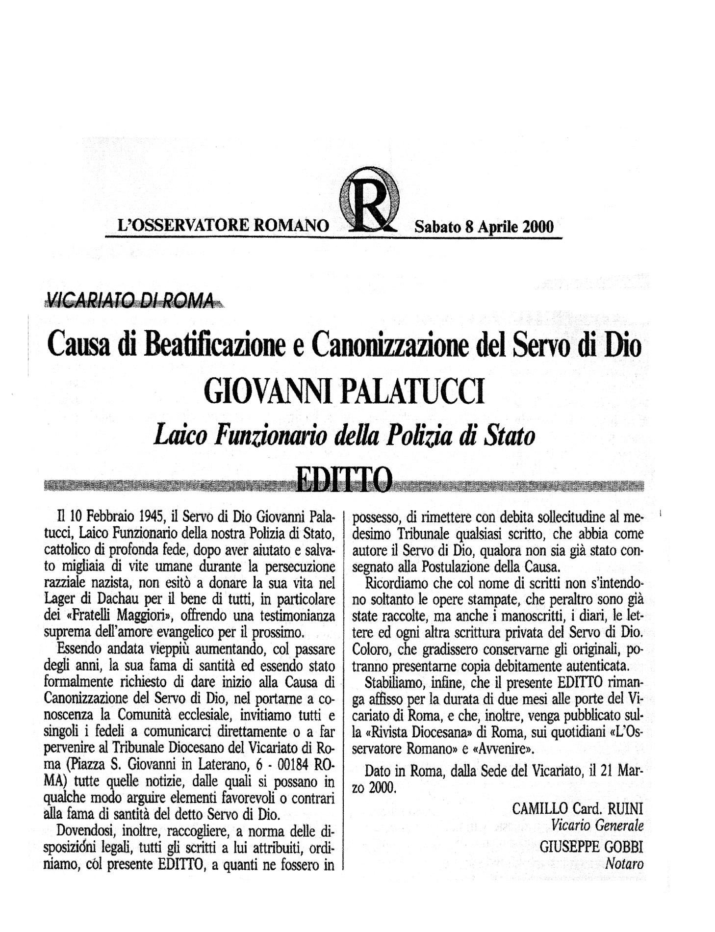 Editto di beatificazione di Giovanni Palatucci