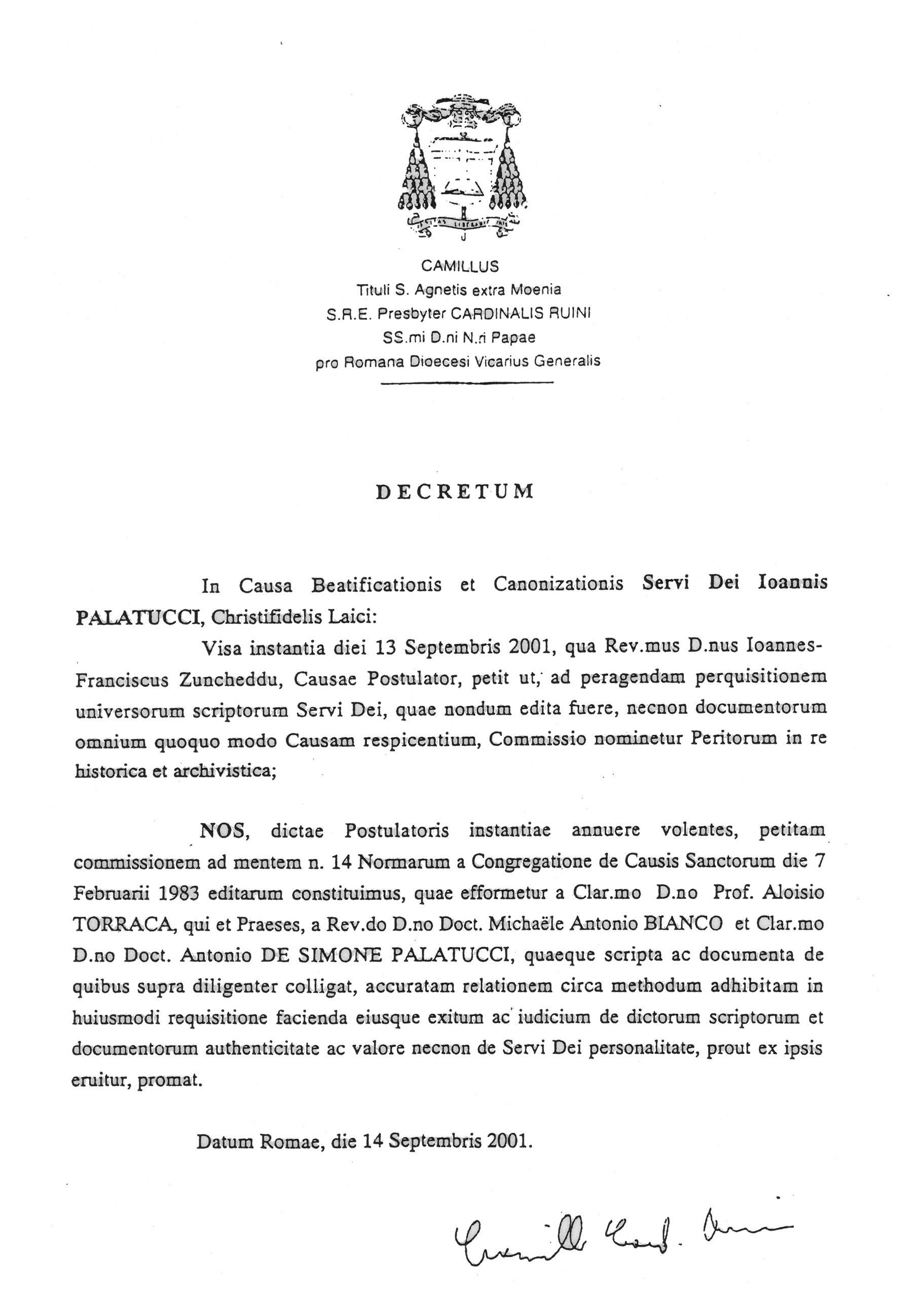 Editto Santa Sede sulla beatificazione di Giovanni Palatucci