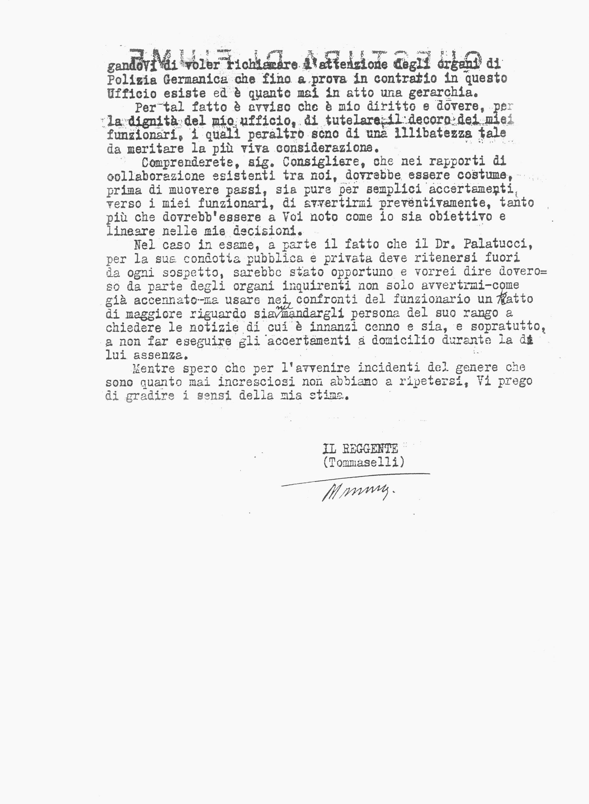 Lettera di raccomandazione per Giovanni Palatucci