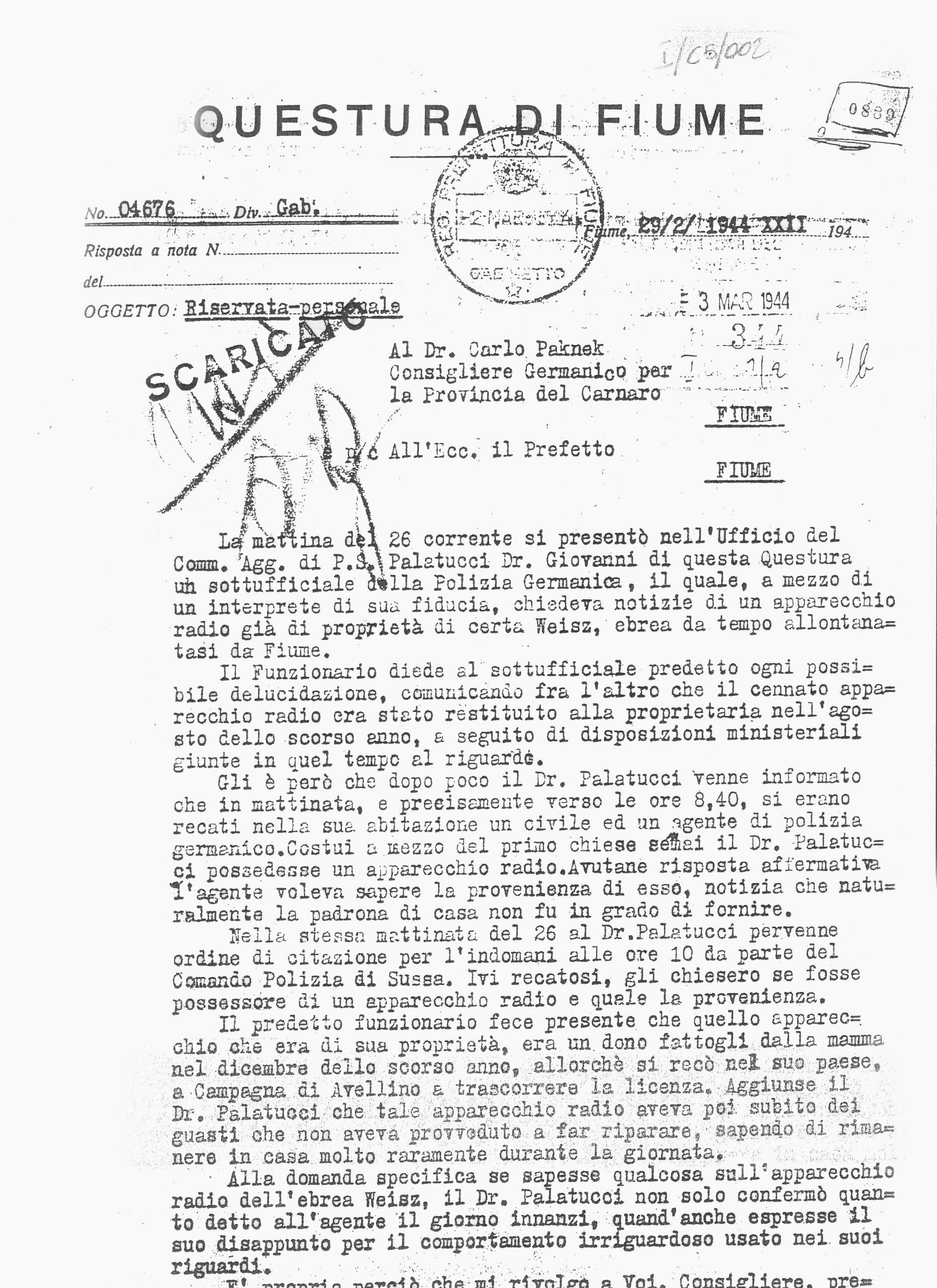 Relazione di Tommaselli su Giovanni Palatucci