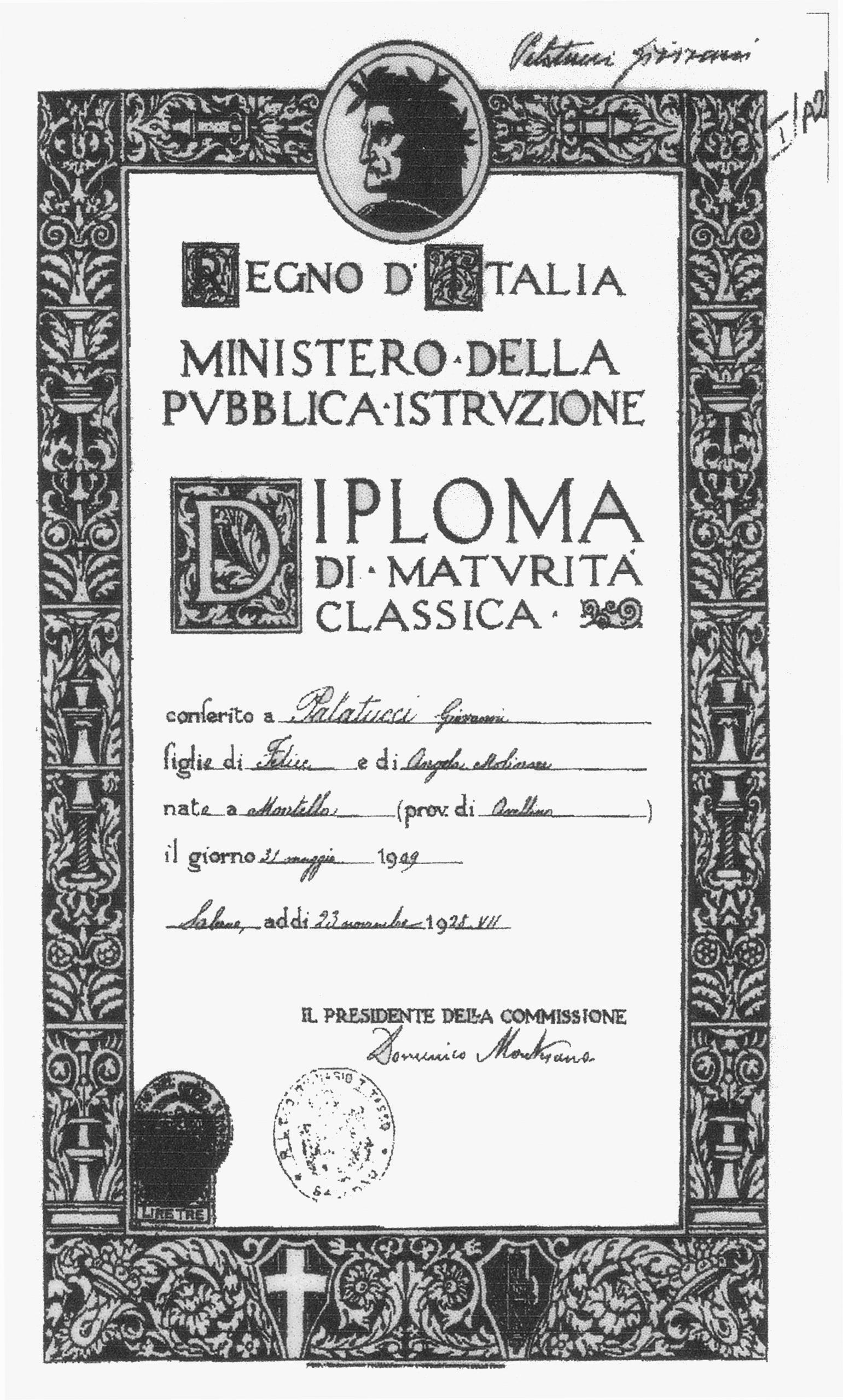 Diploma di maturità di Giovanni Palatucci