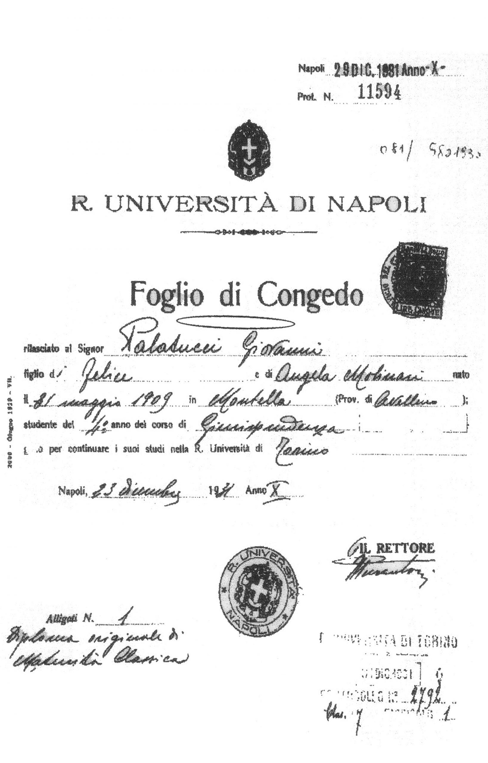 Foglio di congedo dell'Università di Giovanni Palatucci