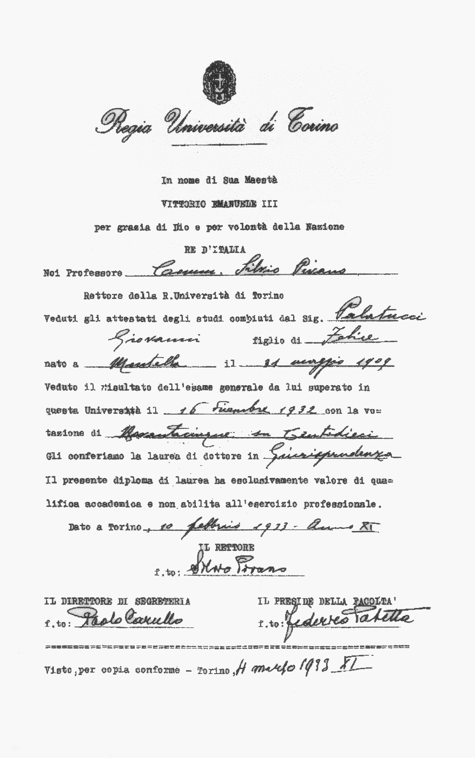 Diploma di laurea di Giovanni Palatucci