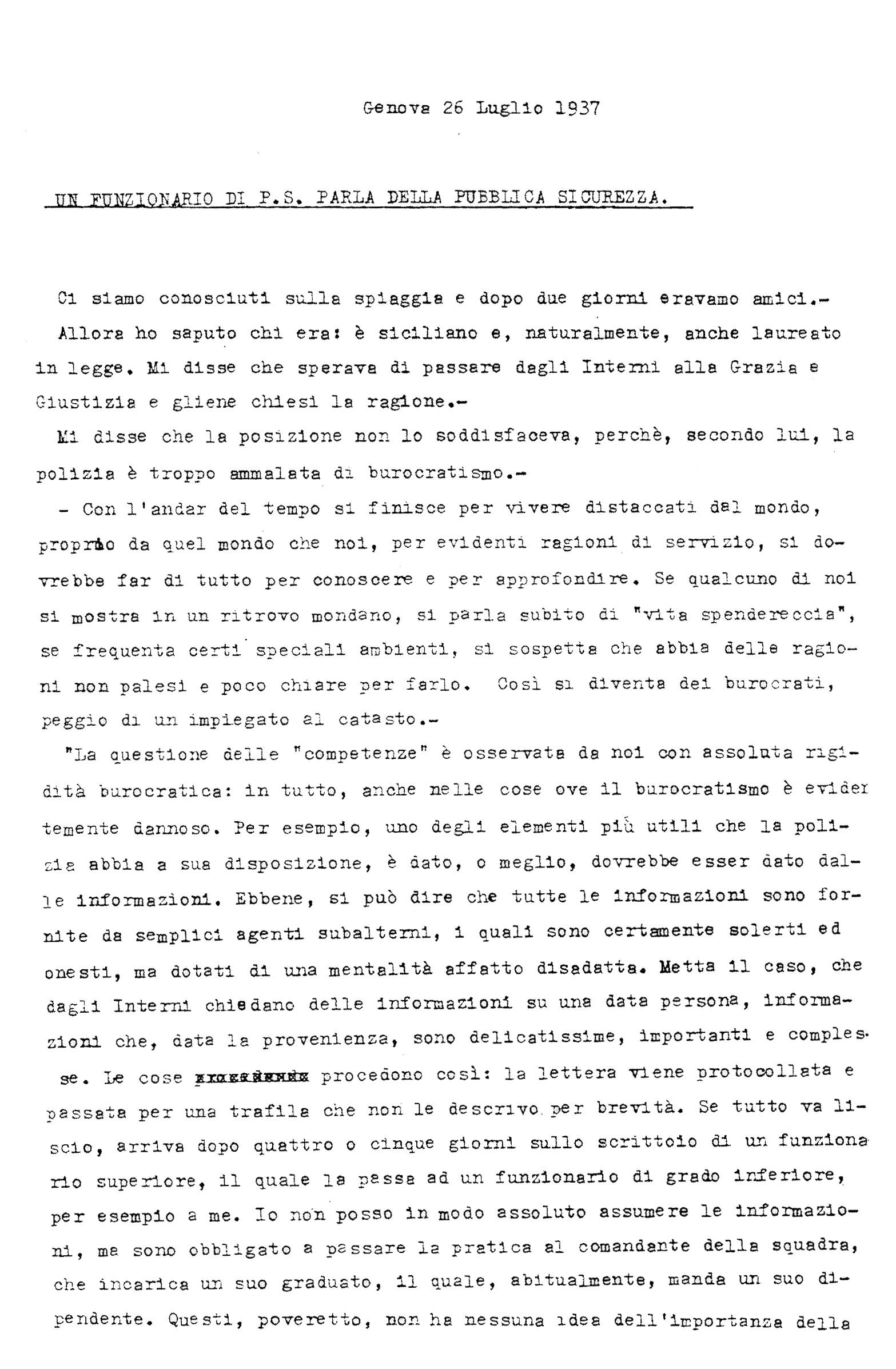 Il funzionario Giovanni Palatucci parla di pubblica sicurezza